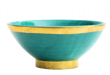Moroccan Ceramic Bowl Jade Green with Edge in Gold Brass Large Handmade 20 cm / 8""